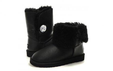 UGG Bailey Button Leather Bling Black