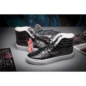 "Зимние кеды Vans Velvet Crocodile Leathe ""Black"" С МЕХОМ Арт. 1596"