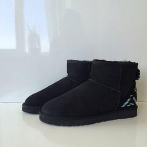 "UGG Classic Mini ""Black - Blue Ornament"" Арт. 1702"