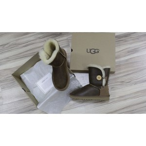 "UGG BAILEY BUTTON II BOOT LEATHER ""CHOCOLATE"" Арт. 0355"