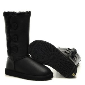 "UGG Bailey Button Triplet Leather ""Black"" Арт. 1037"