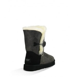 "UGG BAILEY BUTTON II BOOT LEATHER ""GREY/BLACK"" Арт. 0354"