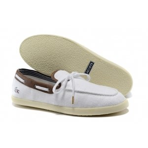 "Мокасины Lacoste Casual ""White and Coffee"" Арт. 0508"